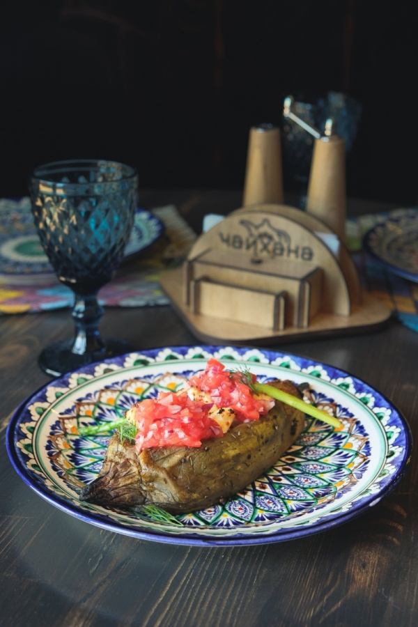 Печёный баклажан с сыром панир тикка