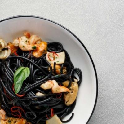 Спагетти Нери с морепродуктами