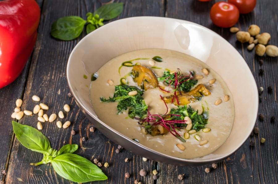 Грибной крем - суп со шпинатом