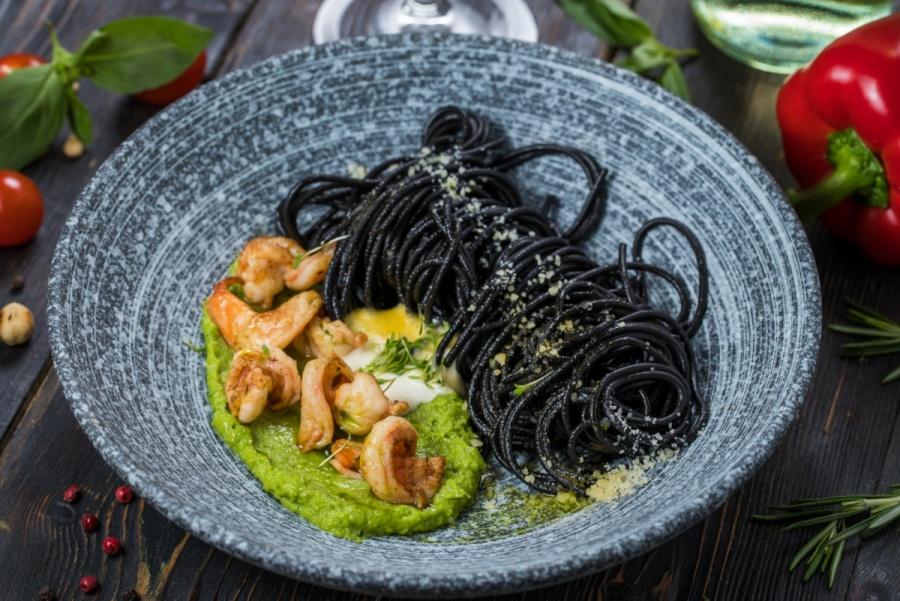 Спагетти Нери с креветками
