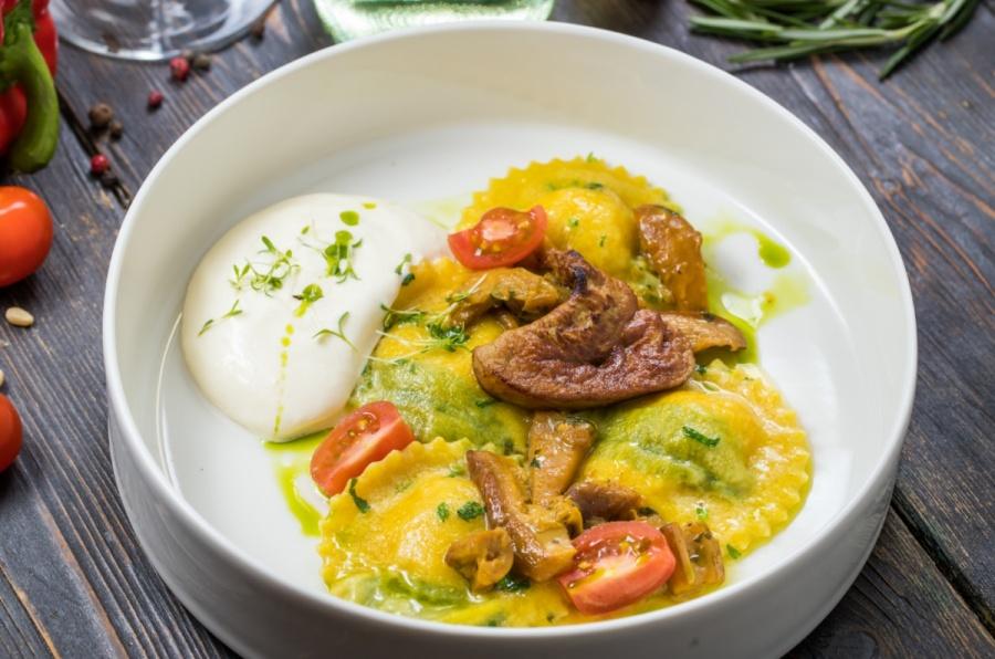 Равиоли с картофельным кремом и фуа-гра
